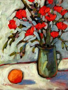 Still Life with Flowers and Orange by Patty Baker