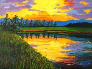 Yellow Reflections on Voorhis Pond by Patty Baker