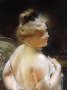 Woman with a Pearl Necklace, Femme Au Collier De Perles by Paul Albert Besnard