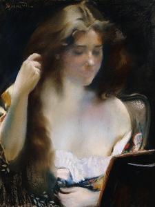 Young Woman at Her Toilet; Jeune Femme a Sa Toilette by Paul Albert Besnard