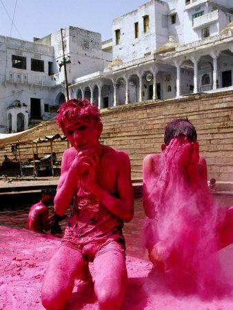 Boys Purify Themselves with Pink Powder During Holi Festival, Pushkar, India