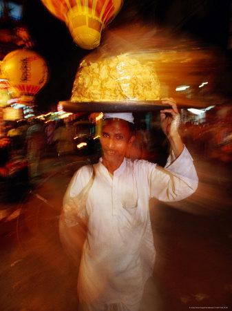 Food Seller in Bazaar, Looking at Camera, Delhi, India