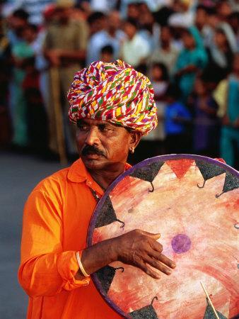 Rajastani Musician Playing Drum During Elephant Festival Parade, Jaipur, India