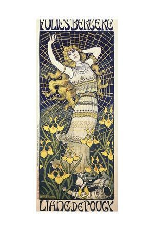 Poster for Show of Dancer Liane De Pougy (1869-1950) at Folies Bergere