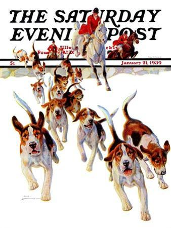 """""""After the Scent,"""" Saturday Evening Post Cover, January 21, 1939 by Paul Bransom"""