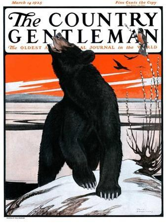 """Bear and Robin Welcome Spring,"" Country Gentleman Cover, March 14, 1925"