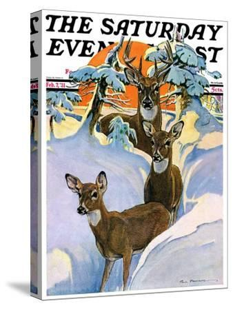 """""""Deer in Snow,"""" Saturday Evening Post Cover, February 7, 1931"""