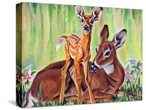 """""""Doe and Fawn in Forest,"""" June 1, 1940 by Paul Bransom"""