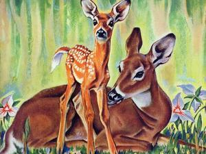 """Doe and Fawn in Forest,"" June 1, 1940 by Paul Bransom"