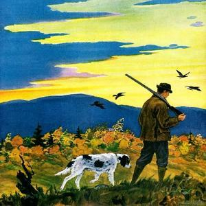 """Duck Hunter and Dog,""October 1, 1929 by Paul Bransom"