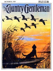 """Geese in Formation over Marsh,"" Country Gentleman Cover, October 1, 1930 by Paul Bransom"