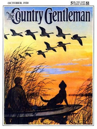 """Geese in Formation over Marsh,"" Country Gentleman Cover, October 1, 1930"