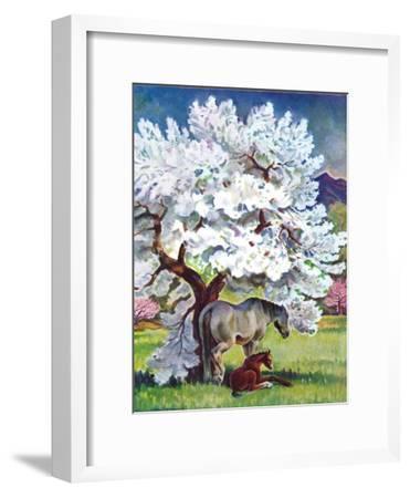 """Horses and Tree Blossoms,""May 1, 1940"