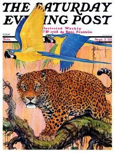 """Leopard and Parrots in Jungle,"" Saturday Evening Post Cover, September 2, 1933 by Paul Bransom"