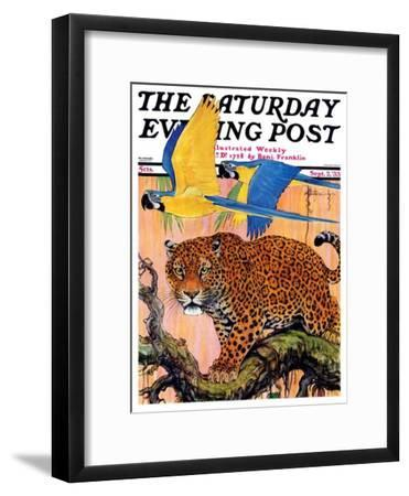 """""""Leopard and Parrots in Jungle,"""" Saturday Evening Post Cover, September 2, 1933"""
