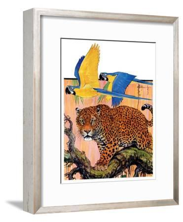 """""""Leopard and Parrots in Jungle,""""September 2, 1933"""