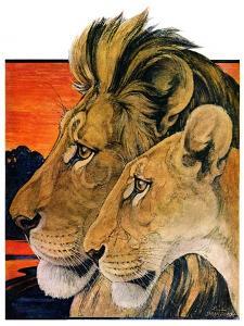 """Lion Pair,""April 27, 1929 by Paul Bransom"