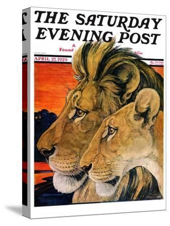 """Lion Pair,"" Saturday Evening Post Cover, April 27, 1929"