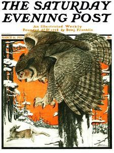 """Owl and Rabbit,"" Saturday Evening Post Cover, March 14, 1925 by Paul Bransom"
