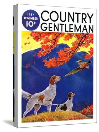"""""""Pointing to the Pheasant,"""" Country Gentleman Cover, November 1, 1937"""