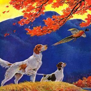 """""""Pointing to the Pheasant,""""November 1, 1937 by Paul Bransom"""
