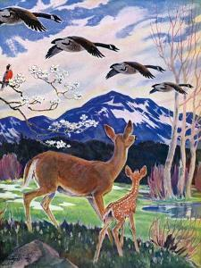 """Spring in the Meadow,""March 1, 1938 by Paul Bransom"
