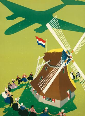 KLM Royal Dutch Airlines: Holland Windmill, c.1945 by Paul Brillens