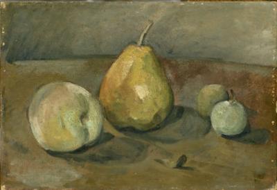 Nature morte, poire et pommes vertes by Paul C?zanne