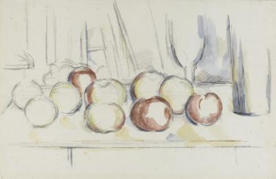 Pommes, verre et bouteille by Paul C?zanne