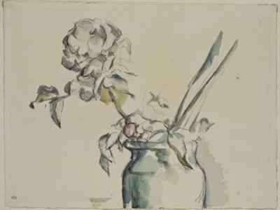 Roses dans un vase vert by Paul C?zanne