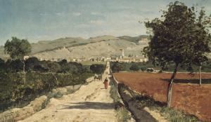 Landscape of Provence. View of Saint-Saturnin-Les-Apt by Paul Camille Guigou