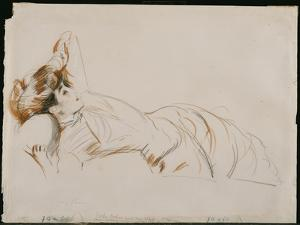 An Elegant Lady Reclining by Paul Cesar Helleu