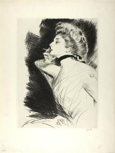 Half-Length Portrait of a Seated Woman, Smoking a Cigarette, Facing Left, C.1900 by Paul Cesar Helleu