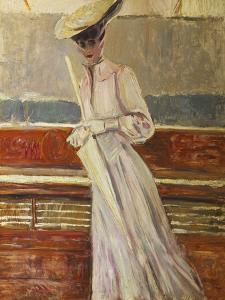 Madame Helleu on the Yacht Etoile by Paul Cesar Helleu