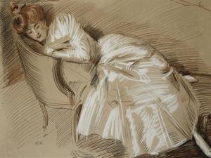 Madame Helleu Reclining on a Chaise-Longue by Paul Cesar Helleu