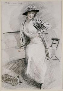 Madame Paris Seated on a Banquette by Paul Cesar Helleu