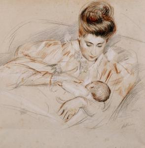 Mother and Child by Paul Cesar Helleu
