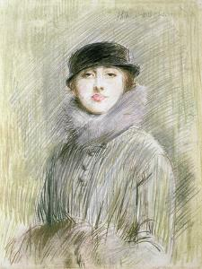 Portrait of a Lady with a Fur Collar and Muff, 20th Century (Drawing) by Paul Cesar Helleu