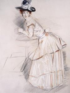 Portrait of Madame Helleu Leaning on a Table by Paul Cesar Helleu