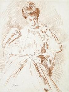 Portrait of Madame Helleu, Reading by Paul Cesar Helleu