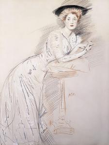 Portrait of Miss Taylor Leaning on a Table by Paul Cesar Helleu