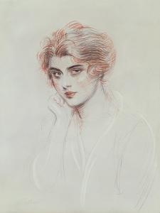 The Artist's Daughter (Coloured Pencil on Paper) by Paul Cesar Helleu