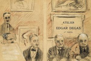 The Auctioneers at the Edgar Degas Studio Sale of December 1918 by Paul Cesar Helleu