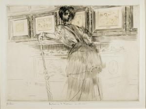 Woman Looking at Watteau Drawings in the Louvre, C. 1895 by Paul Cesar Helleu
