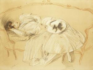 Young Woman on the Sofa; Jeune Femme Au Divan by Paul Cesar Helleu