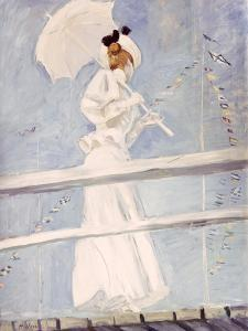 Young Woman with a Parasol on a Jetty by Paul Cesar Helleu