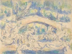 Bathers by a Bridge, 1900-06 by Paul Cezanne