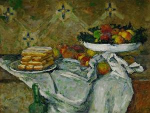 Compotier et Assiette de biscuits, around 1877 Fruit bowl and plate with biscuits by PAUL CEZANNE