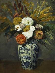 Dahlias in a Delft Vase, 1873 by Paul Cézanne