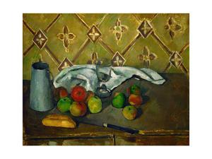 Fruits, serviette et boite a lait. Canvas, 60 x 73 cm RF 1960-10. by PAUL CEZANNE